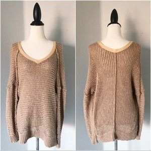 Free People Taupe Open Knit V-Neck Sweater